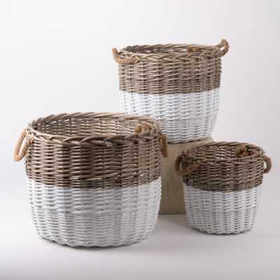 Glitzhome Natural/White Round Wicker Baskets (Set of 3), Brown - Home Depot