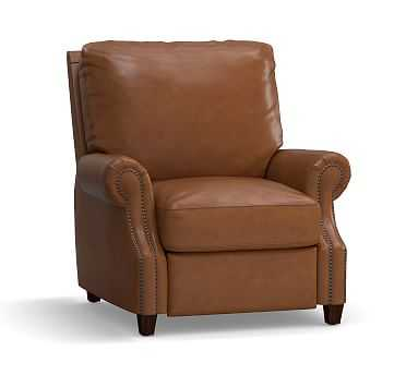 James Leather Recliner, Down Blend Wrapped Cushions, Signature Maple - Pottery Barn