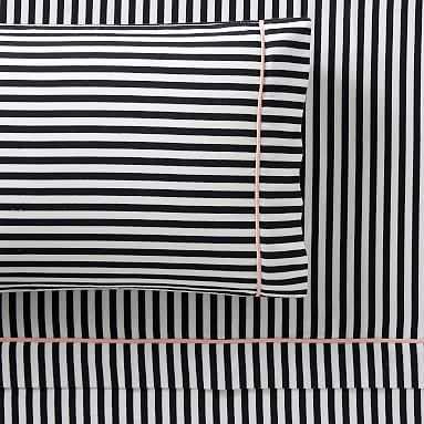 The Emily & Meritt Pirate Stripe Sheet Set, Queen, Black/White - Pottery Barn Teen