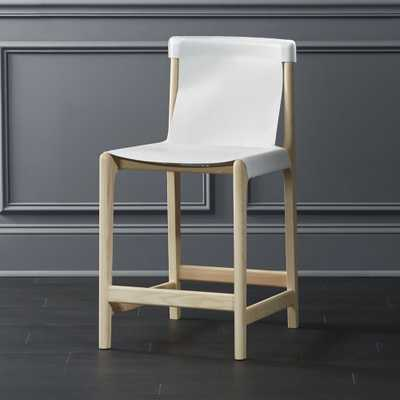 """Burano White Leather Sling Counter Stool 24"""""" - CB2"