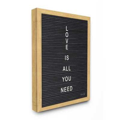 "16 in. x 20 in. ""Love is All You Need Black and White Framed Letter Board Look Canvas Wall Art"" by Marla Rae, Multi-Colored - Home Depot"