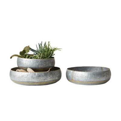 Round Silver Galvanized Planter Bowls (Set of 3) - Home Depot