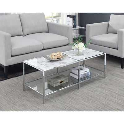 Gold Coast Carrara Coffee Table in Faux White Marble and Chrome - eBay