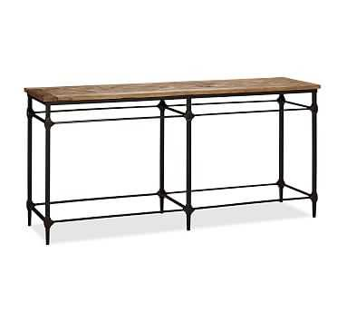 """Parquet 71"""" Reclaimed Wood & Metal Console Table - Pottery Barn"""