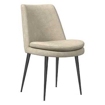Finley Dining Chair, Low Back, Gunmetal Leg, Distressed Velvet, Light Taupe, Gunmetal - West Elm