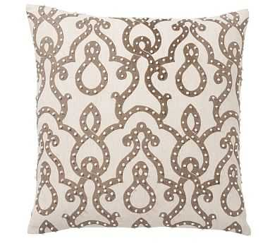 "French Knot Trellis Pillow Cover, 24"", Taupe Multi - Pottery Barn"