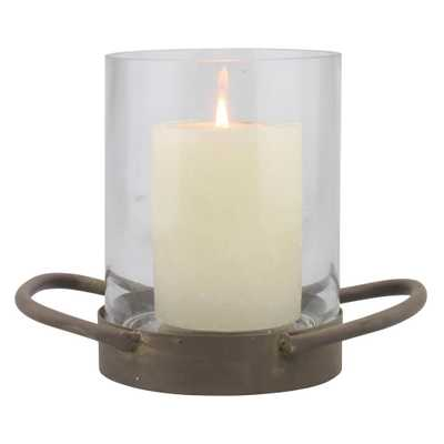 6.5 in. Brown Glass Hurricane Candle Holder, Brown/Tan - Home Depot