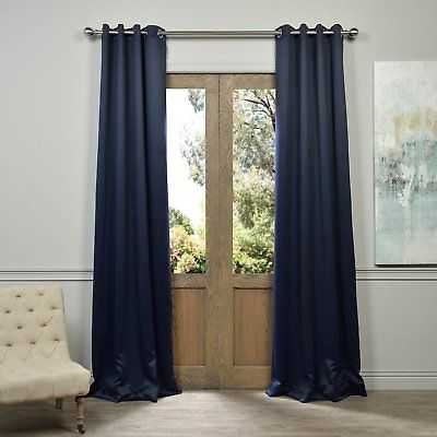 Exclusive Fabrics Navy Blue Grommet Blackout Curtain Panel Navy blue: 108 Inches - eBay
