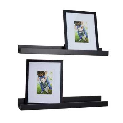 Contempo 21.5 in. W x 2 in. H Black MDF Ledge Shelves (Set of 2) with 2 Photo Frames - Home Depot