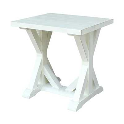 Modern Farmhouse Distressed White End Table, Distressed White/Seashell - Home Depot