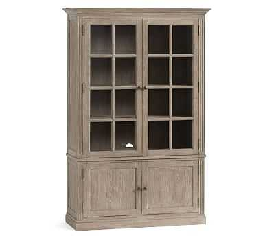 Livingston Glass Cabinet, Gray Wash - Pottery Barn