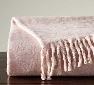"Solid Faux Mohair Oversized Throw, 55x80"", Soft Rose - Pottery Barn"