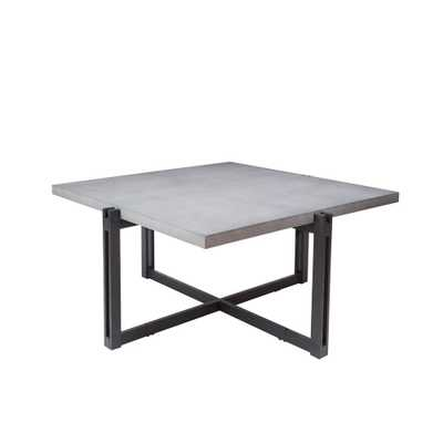 Dakota Gray Square Concrete Top Coffee Table, Brown - Home Depot