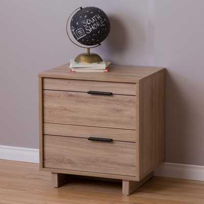 Fynn 2-Drawer Rustic Oak Nightstand - Home Depot