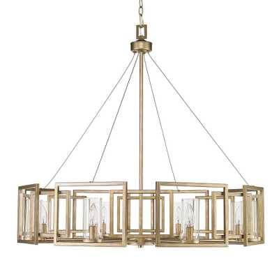 Golden Lighting Marco 8-Light White Gold Chandelier with Clear Glass Shade - Home Depot