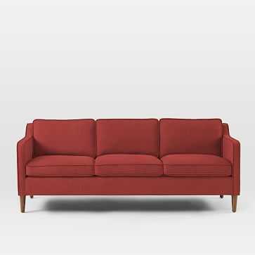 """Hamilton Upholstered 81"""" Sofa, Brushed Heathered Cotton, Grapefruit - West Elm"""