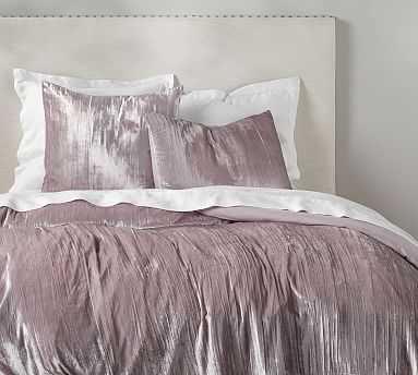 Crinkle Velvet Duvet Cover, King/Cal. King, Light Orchid - Pottery Barn