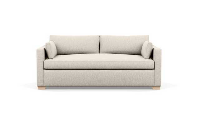 Charly Sofa with Wheat Fabric, Natural Oak legs, and Bench Cushion - Interior Define