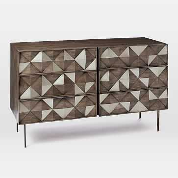 Roar + Rabbit Diamond Rhombus 6 Drawer Dresser, Antique Brass - West Elm