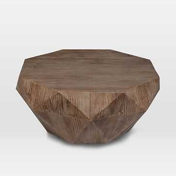 Reclaimed Wood Faceted Coffee Table, Weathered Brush Natural Oak - West Elm