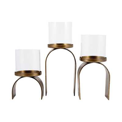 Arch 12 in., 11 in. and 8 in. Antique Brass and Clear glass Candle Holders (Set of 3) - Home Depot