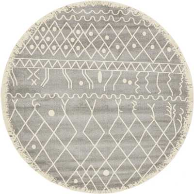 Morocco Gray 8 ft. x 8 ft. Round Area Rug - Home Depot