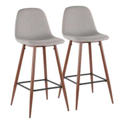 Pebble 29 in. Walnut Metal and Light Grey Fabric Barstool (Set of 2), Light Grey/Brown - Home Depot