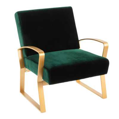 Henley Gold and Green Velvet Lounge Chair, Green/Gold - Home Depot