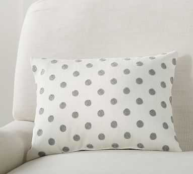 "Polka Dot Crewel Pillow, 12 x 16"", Gray - Pottery Barn"