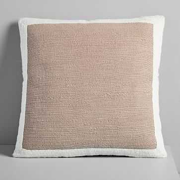 "Textured Border Pillow Cover, Dusty Blush, 20""x20"" - West Elm"