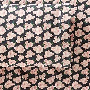 The Emily & Meritt Marigold Rose Sheet Set, Queen, Black/Blush - Pottery Barn Teen