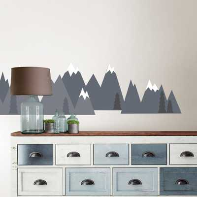 48 in. x 36 in. Grey Mountain Range Wall Art Kit - Home Depot