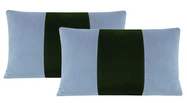 "Lumbar Set :: Signature Velvet // Hydrangea Blue + Fern - 15"" X 22"" - Little Design Company"