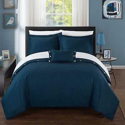 Chic Home 8-Piece Astrid Bed-In-A-Bag Navy Duvet Set: Queen - eBay