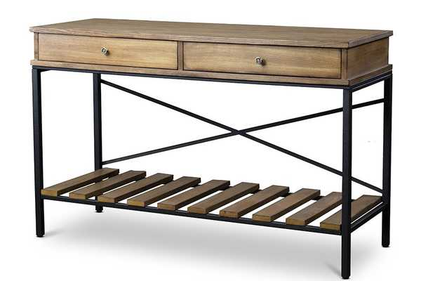Baxton Studio Newcastle Wood and Metal Console Table-Criss-Cross - Lark Interiors