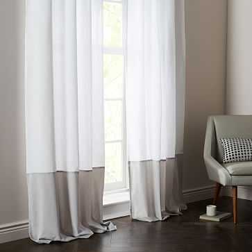 "Linen Velvet Colorblock Curtain, White/Frost, 48""X84"" - West Elm"