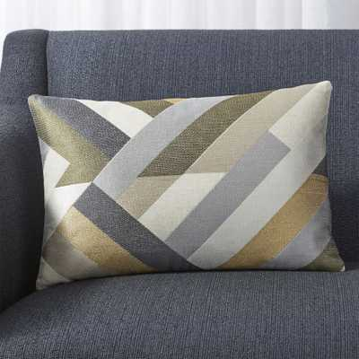 """Addy Neutral Embroidered Pillow with Down-Alternative Insert 18""""x12"""" - Crate and Barrel"""