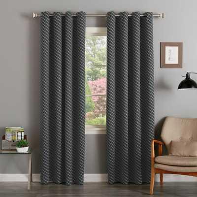 Best Home Fashion 84 in. L Room Darkening Diagonal Stripe Curtain Panel in Dark Grey (2-Pack) - Home Depot