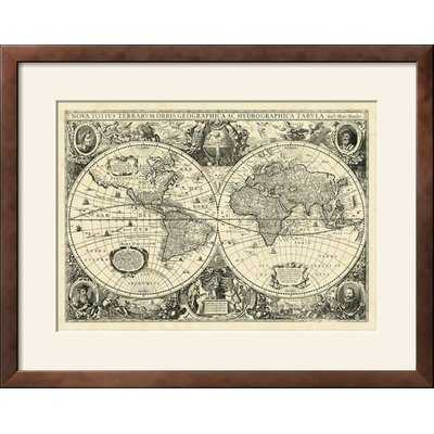 'Vintage World Map' Framed Graphic Art Print - Wayfair
