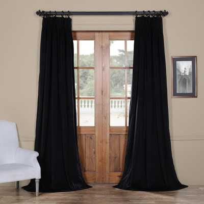 Exclusive Fabrics & Furnishings Blackout Signature Warm Black Pleated - 25 in. W x 96 in. L (1 Panel) - Home Depot