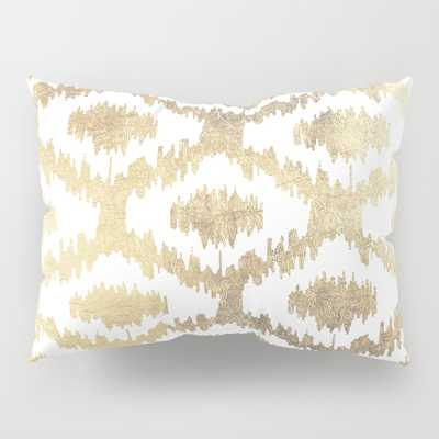Modern White Hand Drawn Ikat Pattern Faux Gold Pillow Sham by Pink_water - Society6