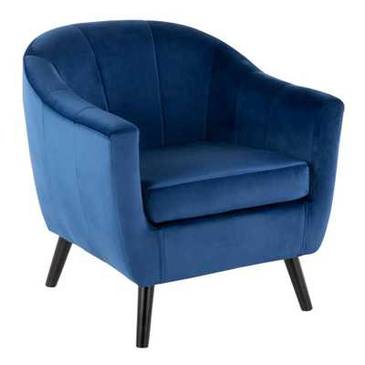 Rockwell Blue Velvet Accent Chair - Home Depot