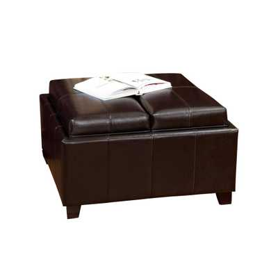 Mansfield Espresso (Brown) Bonded Leather Tray Top Storage Ottoman - Home Depot