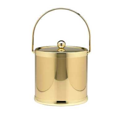 Americano 3 Qt. Polished Brass Ice Bucket and Lid, Metal Bale Handle - Home Depot