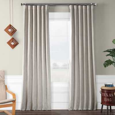 Exclusive Fabrics & Furnishings Clay Beige Faux Linen Blackout Curtain - 50 in. W x 96 in. L - Home Depot