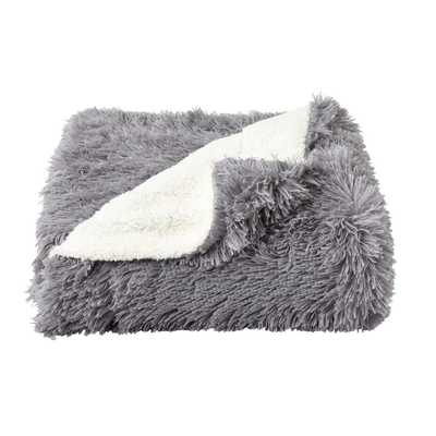 Oversized Long Pile Pewter Grey Faux Fur Hypoallergenic Throw Blanket - Home Depot