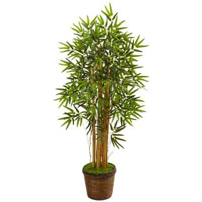 Indoor Bamboo Artificial Tree in Coiled Rope Planter - Home Depot