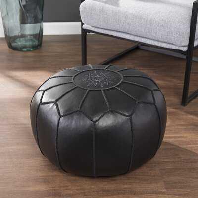 Deckard Black Faux Leather Pouf - Wayfair