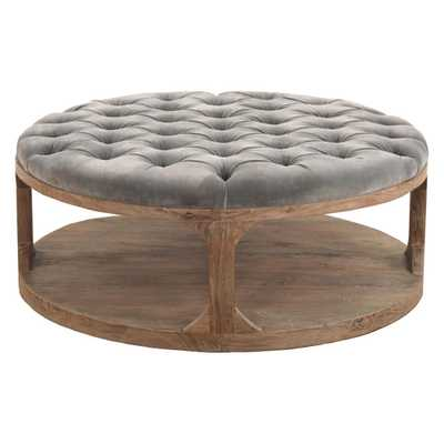 Marie French Country Round Muted Teal Tufted Wood Coffee Table - Kathy Kuo Home