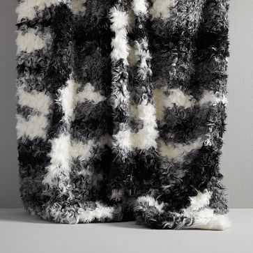 Faux Shearling Throw, Black/Ivory - West Elm